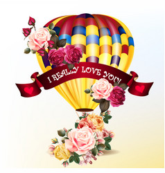 valentines day back with roses and air balloon vector image