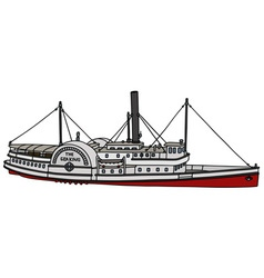 Vintage paddle steamer vector