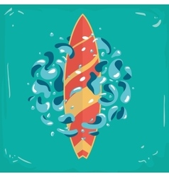 Vintage poster with a surfboard surfboard vector