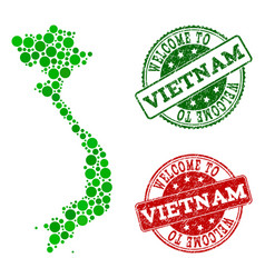 welcome collage of map of vietnam and grunge vector image