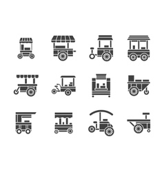 Wheel food stall glyph style icons set vector
