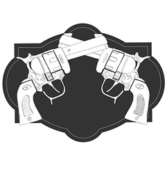Wild West crossed hand guns vector