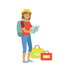 woman standing with traveling backpack and bags vector image vector image