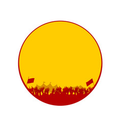 Yellow and red solohuette festival border vector