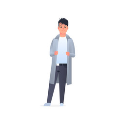 Young asian guy wearing casual clothes happy vector