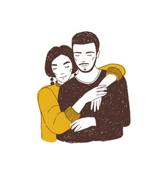 Young woman embracing man adorable lovers or vector