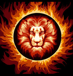 zodiac sign lion in fire circle vector image