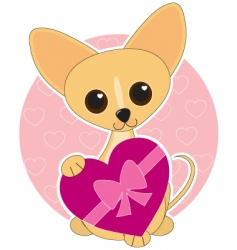 chihuahua heart theme vector image vector image