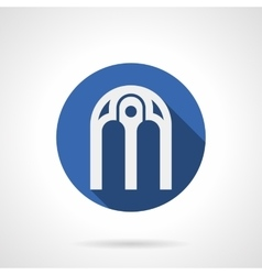 Intricate arches blue round icon vector