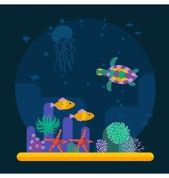 Underwater background with tropical fish and vector image