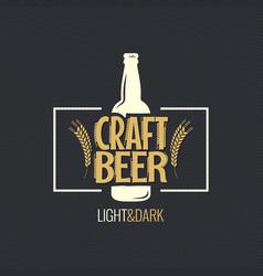beer bottle vintage label design background vector image