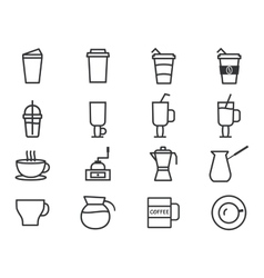 Coffee Outline Elements vector image vector image