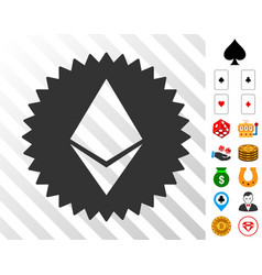 ethereum medal coin icon with bonus vector image vector image
