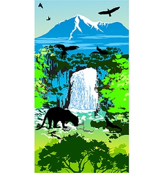 Jungle Waterfall vector image vector image