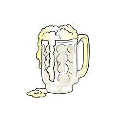Mug of Beer with Overflowing Foam vector image vector image