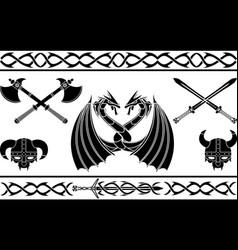 set of fantasy viking signs and patterns vector image