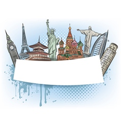 Travel to the wonders of the world banner vector image