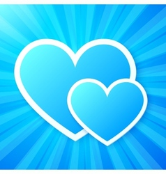 Blue paper hearts on shining background vector image vector image