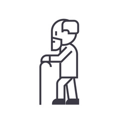 elderly mangrandfather line icon sign vector image vector image