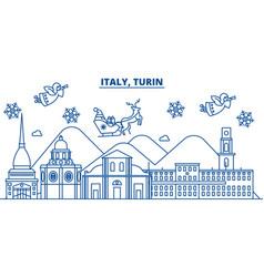italy turin winter city skyline merry christmas vector image