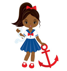 little african american girl with anchor vector image vector image