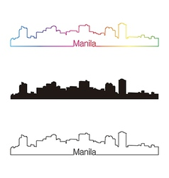 Manila skyline linear style with rainbow vector image