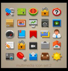multimedia icon set-2 vector image