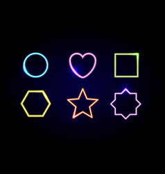 Neon different shapes frames vector