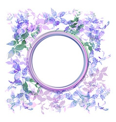Spring background wreath with lilac purple leaves vector image