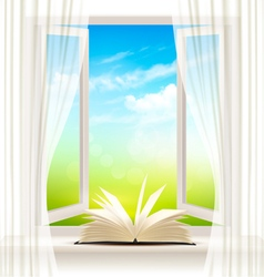 Background with an open window and open book vector image vector image