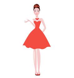 elegant women the brunette dressed in polka dots vector image