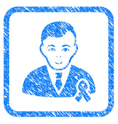 gentleman with mourning ribbon framed stamp vector image