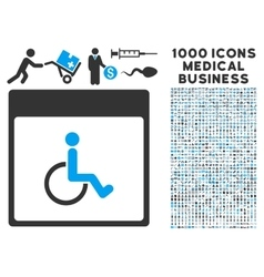 Handicapped Calendar Page Icon With 1000 Medical vector image vector image