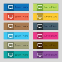 monitor icon sign Set of twelve rectangular vector image vector image