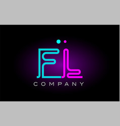 neon lights alphabet fl f l letter logo icon vector image vector image