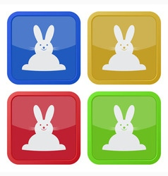 set of four square icons with Easter bunny vector image vector image