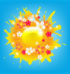 Sunburst banner with flowers vector