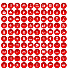100 robot icons set red vector