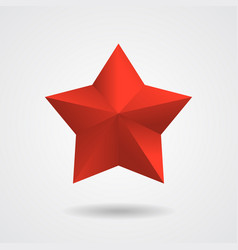 3d red star flat style vector image