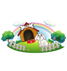 A dog in a dog house with fence vector image