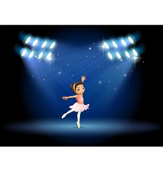 A little girl dancing ballet with spotlights vector