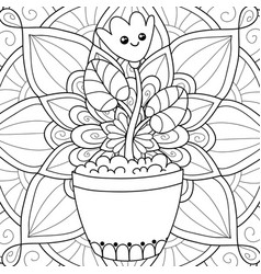 adult coloring bookpage a kawaii flower on the vector image