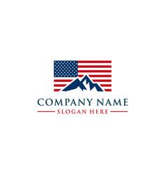 American flag and mountain logo design vector