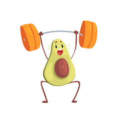 Avocado exercising with barbell funny exotic vector