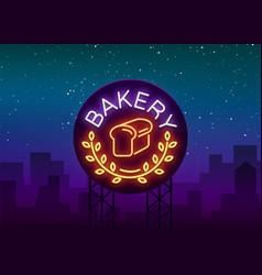 Bakery logo is a neon sign on vector