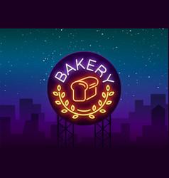 Bakery logo is a neon sign vector