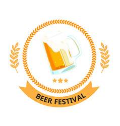 beer festival ribbon beer mug circle frame vector image