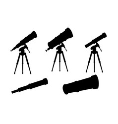 black silhouette set telescopes with stands and vector image