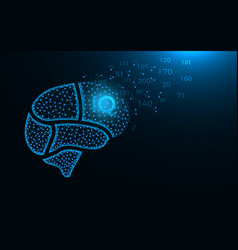 brain areas low poly design intelligence quotient vector image