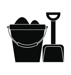 Bucket and shovel for childrens sandboxe icon vector image vector image